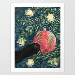 Here Comes Santa Claws Art Print