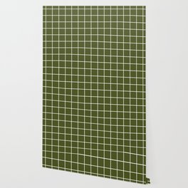 Army green - green color -  White Lines Grid Pattern Wallpaper