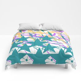 Turquoise Stars & Pastel Streemers Comforters