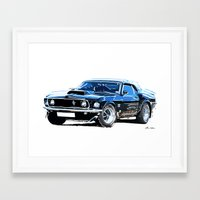muscle Framed Art Prints featuring american muscle  by Vector Art