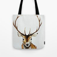 craftberrybush Tote Bags featuring Buck - Watercolor by craftberrybush