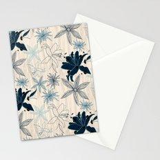 Dark wood grain flowers Stationery Cards