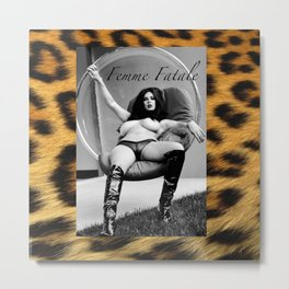Vintage Pin Up - Stone Hard Femme Leopard Metal Print