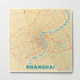 Shanghai Map Retro Metal Print