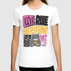 C.R.E.A.M. Cats Rule Everything Around Me MEDIUM Womens Fitted Tee White