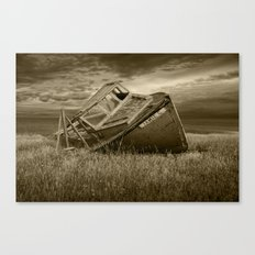 Abandoned and Forlorn The Jamie G. Ship Wreck lies on Prince Edward Island in Sepia Canvas Print
