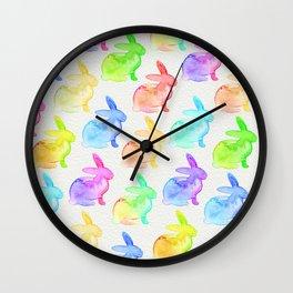 Watercolor Bunni Wall Clock