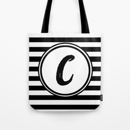 C Striped Monogram Letter Tote Bag