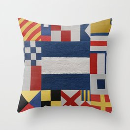 Signal J Flag Throw Pillow