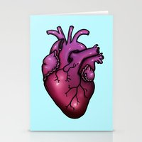 anatomical heart Stationery Cards featuring Anatomical Heart by Hungry Designs
