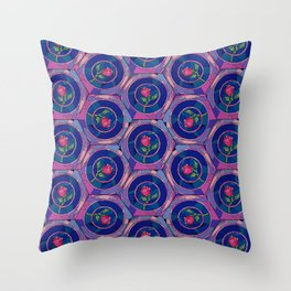 Stained Glass Rose - Beauty & The Beast Inspired Throw Pillow