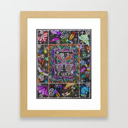 Decay of Insecta Rainbow Galaxy Skeleton Dotwork Space Illustration Framed Art Print