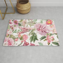 Vintage & Shabby Chic - Botanical Pink Springflowers Meadow Rug