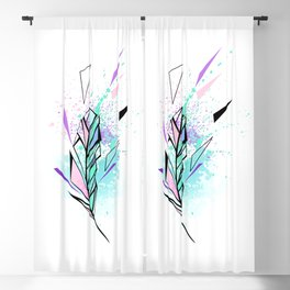 Polygonal Feather with Watercolor Blackout Curtain