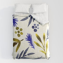 Contemporary Floral Leaf Pattern In Blue & Goldenrod Comforters