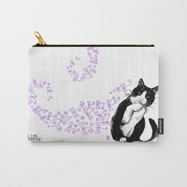 Tuxedo cat and dragonflies Carry-All Pouch