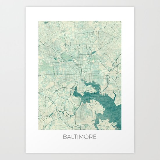 Baltimore Map Blue Vintage Art Print