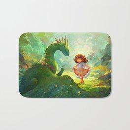 Pretty - Girl and Garden dragon Bath Mat