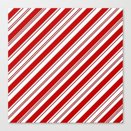 winter holiday xmas red white striped peppermint candy cane Canvas Print