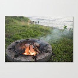Lake Michigan campfire Canvas Print
