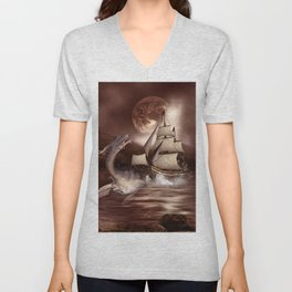 Awesome seadragon with ship Unisex V-Neck
