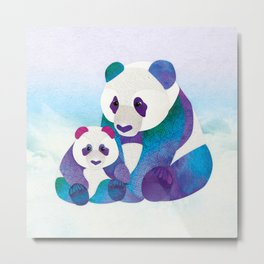Alfie & Alice the Pandas Metal Print