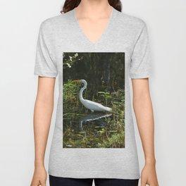White Egret Unisex V-Neck