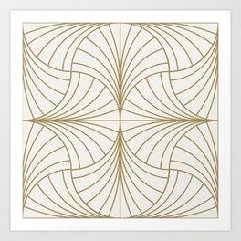 Diamond Series Inter Wave Gold on White Art Print