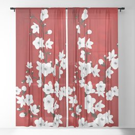Red Black And White Cherry Blossoms Sheer Curtain
