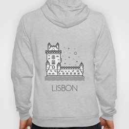 Belém Tower Lisbon Portugal Black and White Hoody