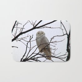 Snowy Owl in the Treetop Bath Mat