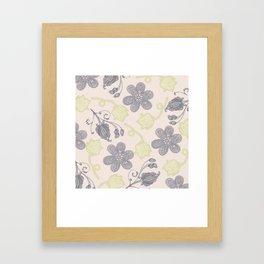 Modern vintage mint green ivory gray floral Framed Art Print