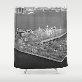 Ellis Island and NYC Harbor Photograph Shower Curtain