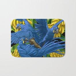Hyacinth Macaws and bananas Stravaganza (black background). Bath Mat
