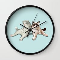 grumpy Wall Clocks featuring Grumpy Friend by Tummeow