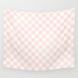 Blush Pink Coral Checkers Spring Summer Wall Tapestry