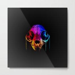 Rainbow Catskull Metal Print