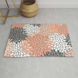 Floral Pattern, Coral, Gray, White Rug