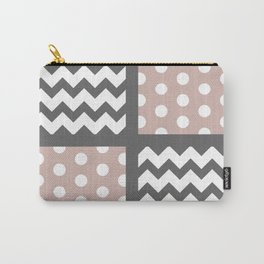 Warm Gray/Tan Chevron/Polkadot Pattern Muted Palette Neutrals Carry-All Pouch