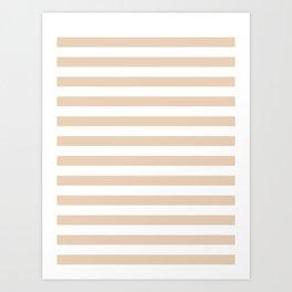 Narrow Horizontal Stripes - White and Pastel Brown Art Print