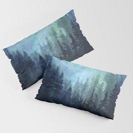 Galaxy Watercolor Aurora Borealis Painting Pillow Sham
