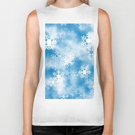 Christmas Elements Blue White Snowflakes Design Pattern Biker Tank