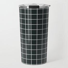 Charleston green - grey color - White Lines Grid Pattern Travel Mug