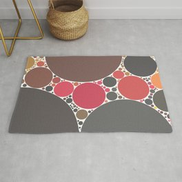 amrita - aubergine mahogany brown earth tone pink grey abstract design Rug