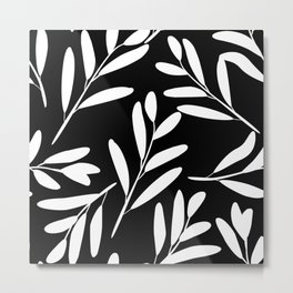 Prints of Leaves, Black and White Arts Metal Print