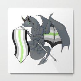 Pride Dragons - Agender Flag Metal Print
