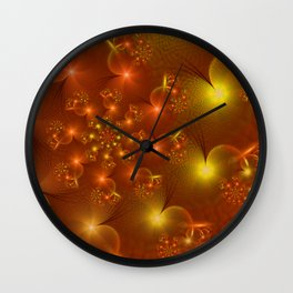 Orange hearts in a whirl Wall Clock