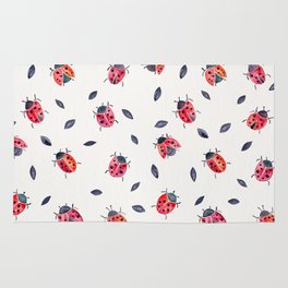 Lucky Ladybugs & Black Leaves Rug