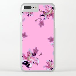 ORIENTAL STYLE PINK-BLACK FLORALS Clear iPhone Case
