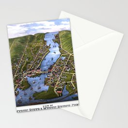 MYSTIC RIVER CONNECTICUT city old map Father Day art print Stationery Cards